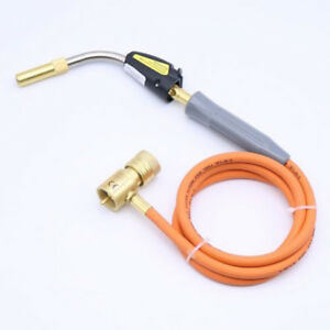 Mapp Gas Self Ignition Plumbing Turbo Torch With Hose Solder Propane Welding New