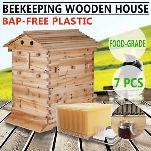 Beehive Wooden Brood Box House 7pcs Auto Flow Honey Hive Frames Beekeeping Usa