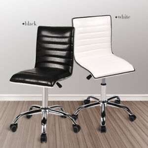Office Chair Ribbed Pu Leather Adjustable Rolling Swivel Office Computer Seat Us