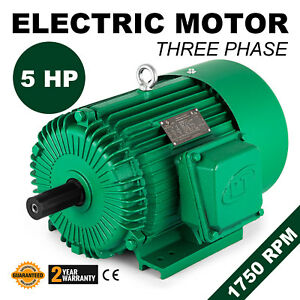 Electric Motor 5 Hp 3 Phase 1750 Rpm 1 125 Shaft 60 Hz Waterproof Applicable