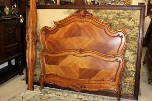 French Antique Louis Xv Walnut Wood Full Queen Size Bed Headboard
