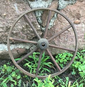 Vintage Antique Wood Wagon Cart Wheel 11 75 Primitive Rustic Western Decor