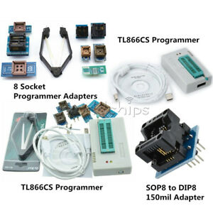 Tl866ii Plus Programmer Usb Eprom Bios 7 Adapters Socket Extractor For 13000 Ic