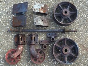 Antique Vtg Industrial Factory Cart Cast Iron Metal Wheel Caster Hardware Set