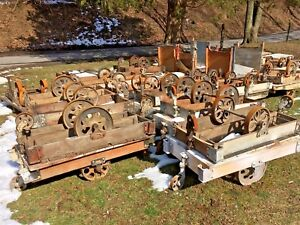 Antique Industrial Railroad Factory Cart Vtg Coffee Table W Cast Iron Wheels