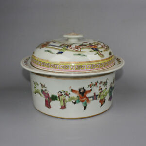 Chinese Old Marked Famille Rose Eight Immortal Pattern Porcelain Lid Soup Bowl