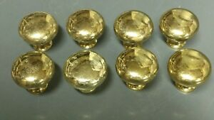 Set Of 8 Vintage Drawer Pulls Solid Brass Round Ball Cabinet K