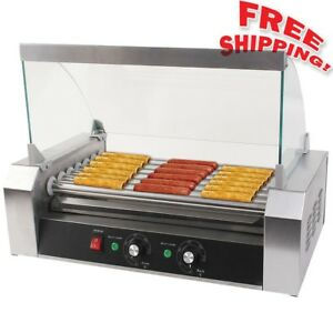 new Commercial 18 30 Hot Dog Hotdog 7 11 Roller Grill Cooker Machine W Cover