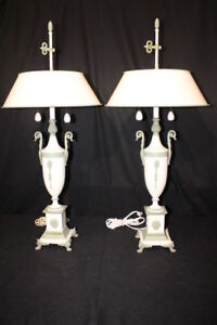 Pair Of Neoclassical Mid Century White W Green Accent Urn Tole Shade Table Lamps
