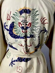 Vintage Antique Chinese Embroidered Dragon Beige Kimono Robe Dull Pongee Silk