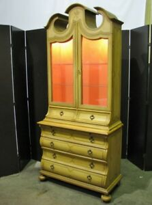 Baker Furniture 1960 S Handpainted Provincial Display Cabinet On Bombe Chest