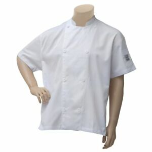 Chef Revival Chef Coat White Poly Cotton Short Sleeve Vented Large J205 w lg