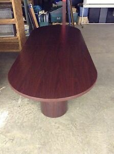 Used Racetrack 10 x4 x30 Conference Table With 2 Round Bases By Hon