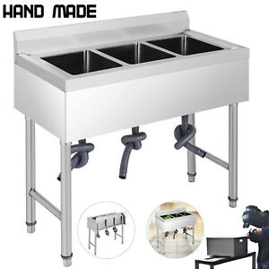 37 5 x19 3 Compartment Stainless Steel Sink Kitchen Bar Wash Table Basin