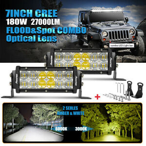 2x 9 Inch 252w Led Flood Spot Light Bar Amber White Offroad Truck Suv Utv 8 10