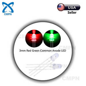 100pcs 3mm Diffused Dual Bi color Red green Common Anode Led Bright Diodes Usa