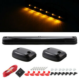 3pc Smoke Led Top Cab Roof Running Amber Lights For Chevy Silverado Gmc Sierra