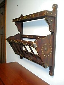 Vtg Wood Brass Wall Hung Magazine Book File Rack Shelf Organizer Sorter Holder