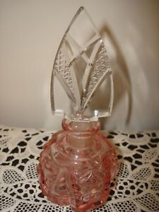 Antique Vtg Pink Czech Perfume Bottle W Dauber Signed Mint Unique Shade Of Pink
