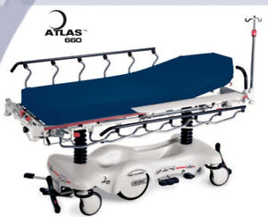 Stryker Atlas 660 Big Wheel Stretcher Wide Bariatric Surface Patient Gurney