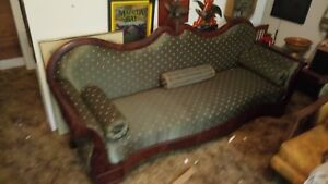 1800 S Empire Style Antique Couch Green Upholstery Old Sofa Settee Settle Burl