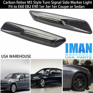 2 Led Carbon Fiber M5 Style Turn Signals Side Marker Light For Bmw E60 E82 E90
