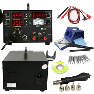 1500w 853d 3in1 Hot Air Iron Gun Soldering Station Dual temperature With 4pcs