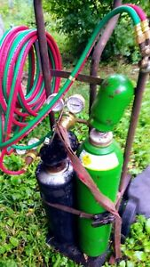 Oxygen Acetylene Cutting Torch Medium Set Tanks Cart Victor Cutting Torch