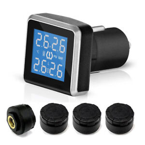 Wireless Car Cigarette Lighter Tpms Tire Pressure Monitoring System 4 Sensors
