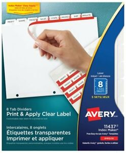 Avery Lsk8 Index Maker Clear Label Dividers With White Tabs For Laser And Ink