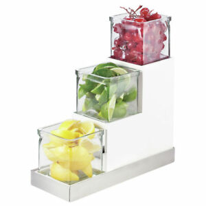 Cal mil White silver Condiment Holder With Glass Jars 4 1 2 l X 12 1 4 w X 9 h