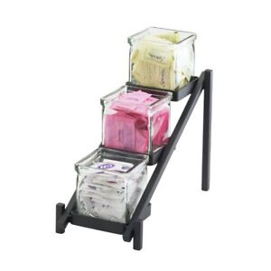 Cal mil 1149 13 One By One Condiment Holder 3 Tier Black Metal 6 1 4 l X 13
