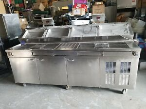 Dunhill Pizza Prep Table W built In Scales 8ft Long 3 Door Cooler
