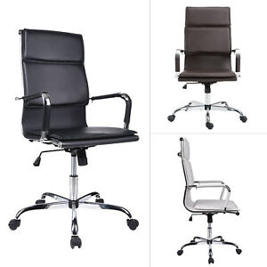 High Back Office Chair Ribbed Ergonomic Leather Executive Adjust Computer Seat