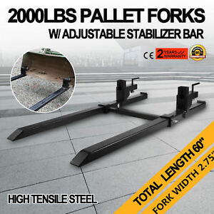 Hd 2000lbs Clamp On Pallet Forks Loader Bucket Tractor Stabilizer Bar