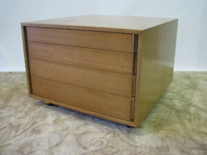 Ed Wormley For Dunbar 4 Drawer Blonde Mahogany Chest Lamp Table On Casters