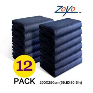 Moving Blankets Set Of 12 Heavy Duty Furniture Moving Pads 60lb Shipping Blanket