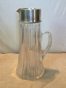 Antique Sterling Silver 560 Fine Cut Glass Crystal Pitcher