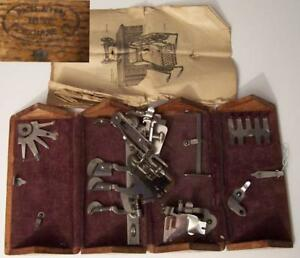 Singer Sewing Machine Wood Puzzle Box With Attachments And Guide Pat 1880s