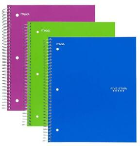 Five Star Spiral Notebook 1 Subject 100 College Ruled Sheets Assorted Colors