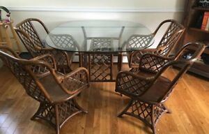 Vintage Mid Century Modern Rattan Table And Chair Set Dark Brown Swivel Chairs