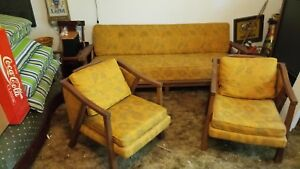 Set Of A Brandt Ranch Oak Mid Century Sofa 2 Armchair Chair Couch