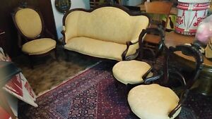 Antique American Victorian Eastlake Parlor Set Settee Settle Chair Sofa Couch
