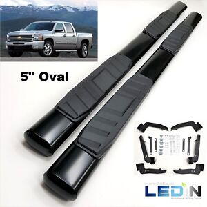 5 Oval Side Step Nerf Bar For 99 13 Chevy Silverado Gmc Sierra Crew Cab Black