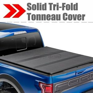Lock Tri Fold Hard Solid Tonneau Cover For 2014 2019 Toyota Tundra 8ft 96in Bed