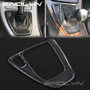 Real Carbon Fiber Gear Shift Control Panel Cover Sticker For Bmw E90 E92 Parts