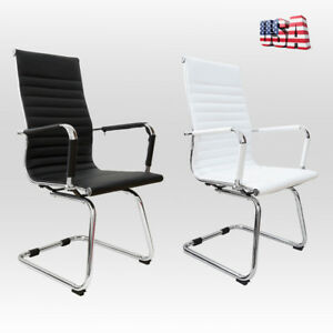 High Back Office Chair Executive Leather Sled Base Ribbed Reception Room Seat Us