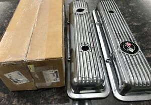1968 77 Corvette Camaro 302 350 Lt1 Pair Aluminum Finned Valve Covers New Gm Nos