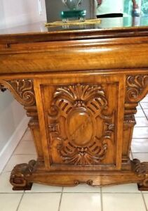 Highly Ornate Heavily Hand Carved Antique Open Back Executive Desk Entry Table