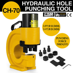 Ch 70 Hydraulic Hole Punching 35t Tool Puncher 3 8 Iron Plate H Style Good